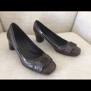 Tory Burch Pumps Brown Leather Snakeskin Logo 8
